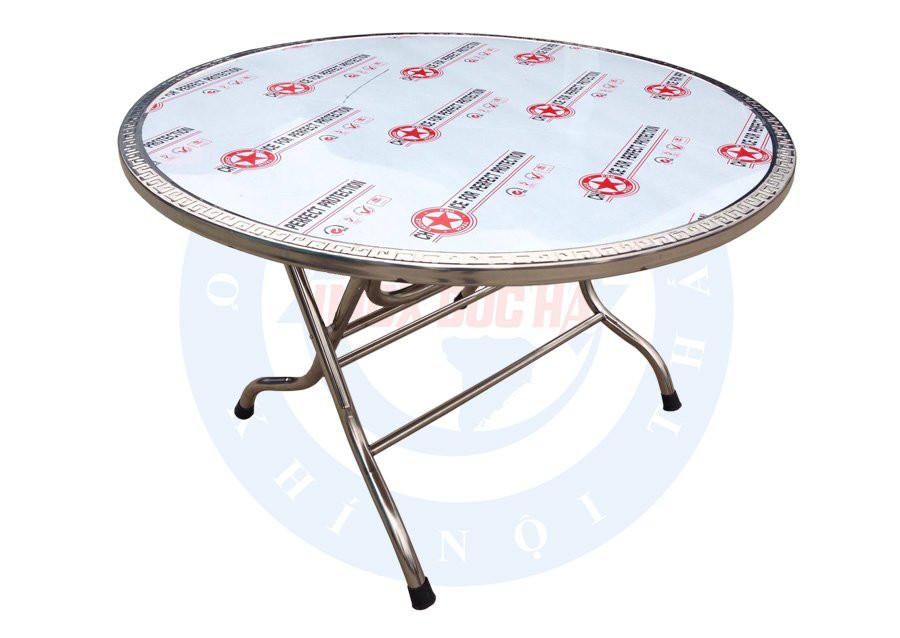bàn tròn inox đường kính 1m