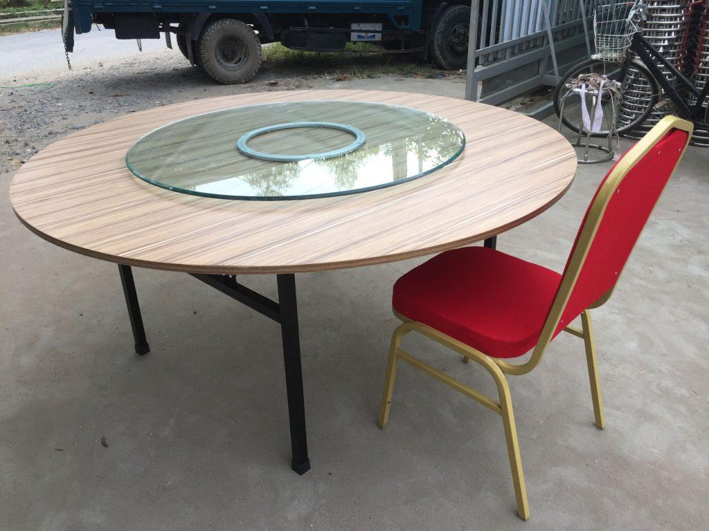 bàn tròn gỗ chân sắt sơn tĩnh điện