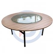 bàn tròn gỗ 1m6 chân sắt sơn tĩnh điện