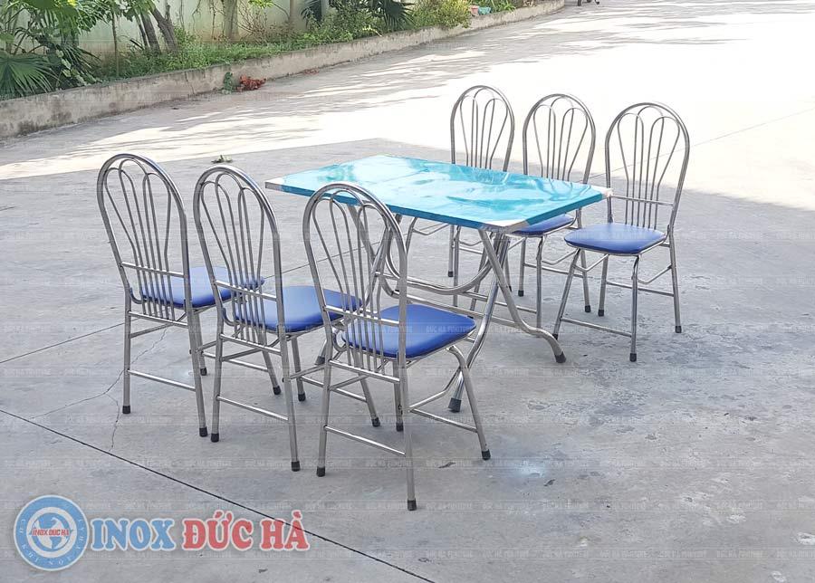 Bộ bàn ghế phòng ăn chân gấp inox