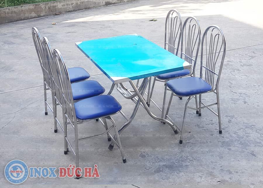 Bộ bàn ghế ăn inox gấp