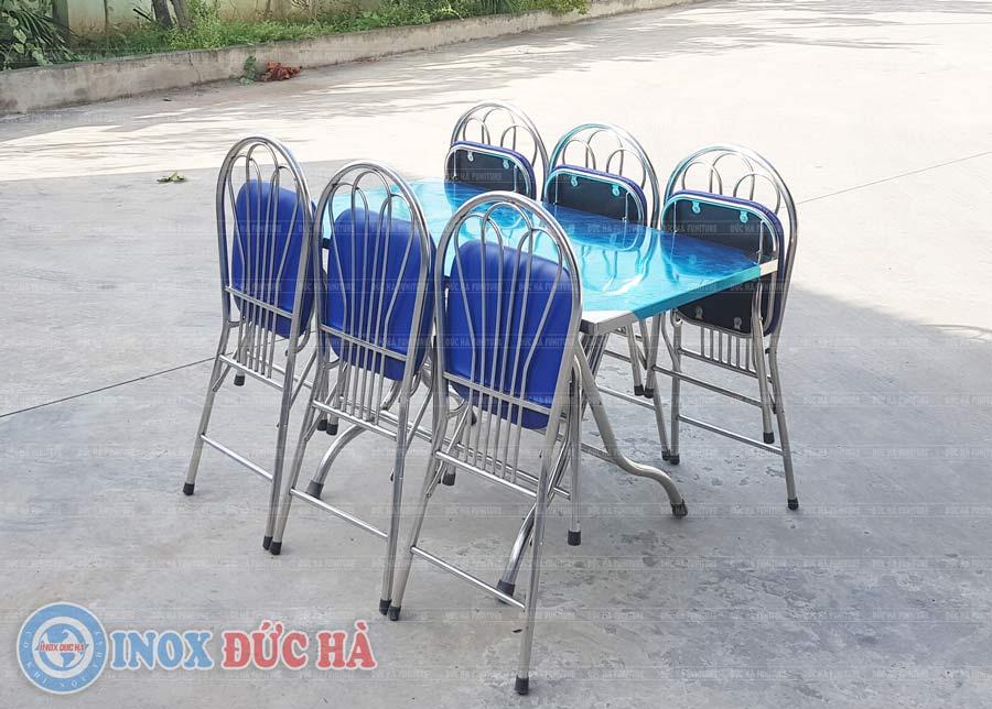 Bộ bàn ghế gấp inox