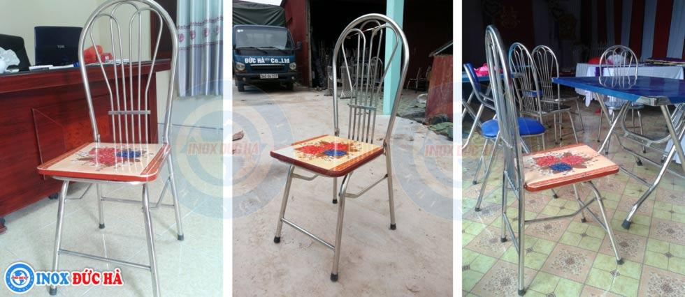ghế gấp inox mặt gỗ
